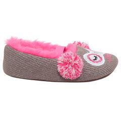 Πλεκτά χαμηλά παντοφλάκια με γυαλιστερό νήμα και ροζ συνθετική γούνα