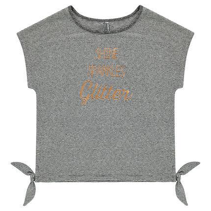 Παιδικά - Κοντομάνικη μπλούζα με λεπτές ρίγες και φιόγκους
