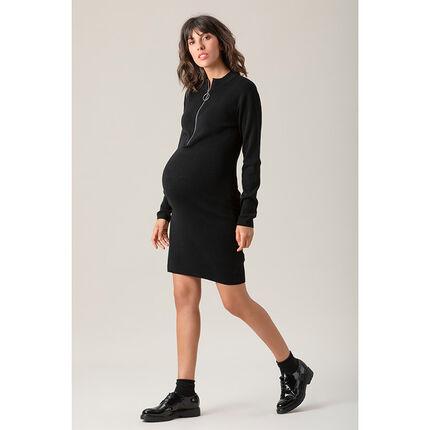 Μακρυμάνικο πλεκτό φόρεμα εγκυμοσύνης με φερμουάρ