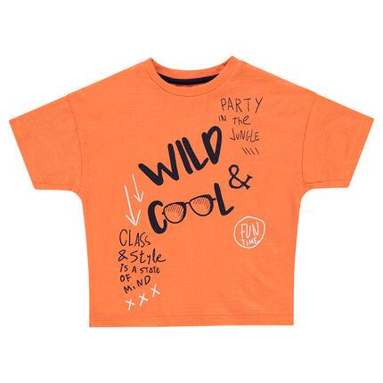 Κοντομάνικη πορτοκαλί μπλούζα με τυπωμένες φράσεις