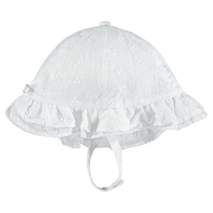 Καπέλο με κοφτό κέντημα και κορδόνια με σούστα