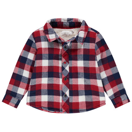 Φανελένιο καρό πουκάμισο με επένδυση από sherpa