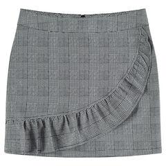 Παιδικά - Κοντή καρό φούστα πρενς-ντε-γκαλ με βολάν