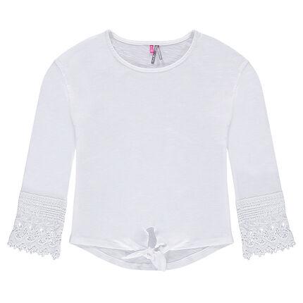Παιδικά - Ζέρσεϊ μπλούζα με δαντέλα στα μανίκια