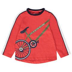 Μακρυμάνικη μπλούζα από ζέρσεϊ σε κοραλί με στάμπα ποδήλατο