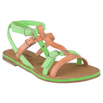 Nu-pieds coloris camel et vert avec boucles et rivets
