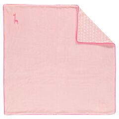 Couverture en velours et popeline de coton imprimée / unie
