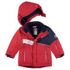 Δίχρωμο μπουφάν του σκι με φλις επένδυση και τσέπες με φερμουάρ