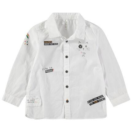 Μακρυμάνικο βαμβακερό πουκάμισο με διακοσμητικές στάμπες
