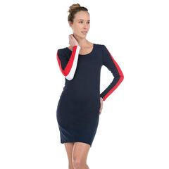 Μακρυμάνικο φόρεμα εγκυμοσύνης με λωρίδες σε αντίθεση