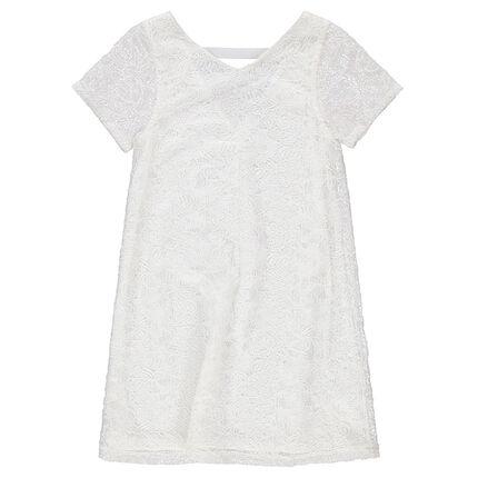 Κοντομάνικο φόρεμα από δαντέλα με V λαιμόκοψη