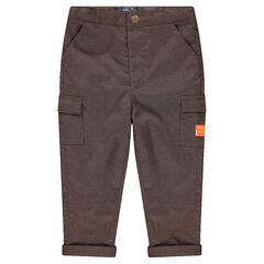 Pantalon micro pied de poule doublé jersey avec poches à rabat