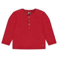 Μακρυμάνικη μπλούζα με στρογγυλή λαικόκοψη με κουμπάκια σε βαμβακερή ύφανση