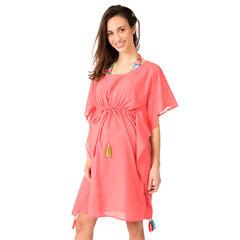 Φόρεμα για την παραλία με βολάν και χρωματιστές φουντίτσες