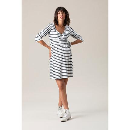 Μακρυμάνικο φόρεμα εγκυμοσύνης με κρουαζέ λαιμόκοψη