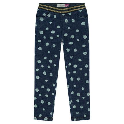 Παντελόνι από φανέλα με φαντεζί πουά μοτίβο