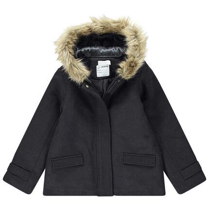 Παιδικά - Παλτό από μάλλινη τσόχα με επένδυση sherpa και συνθετική γούνα