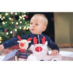Σύνολο με βελουτέ φορμάκι ύπνου σε χριστουγεννιάτικο πνεύμα, με εμπριμέ σκουφάκι