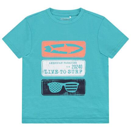 Κοντομάνικη μονόχρωμη μπλούζα με φαντεζί στάμπα