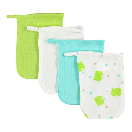 Lot de 4 gants de toilette assortis unis/imprimé
