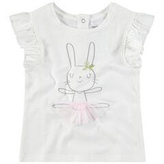 Κοντομάνικη μπλούζα με βολάν στα μανίκια και στάμπα