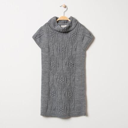 Πλεκτό κοντομάνικο φόρεμα με διαφορετικές πλέξεις