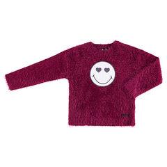 Πλεκτό ροζ πουλόβερ με χνουδωτή υφή και σήμα ©Smiley