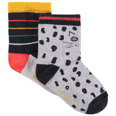 Σετ 2 ζευγάρια κάλτσες, ένα με ρίγες και ένα με λεοπάρ μοτίβο