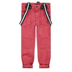 Υφασμάτινο κόκκινο παντελόνι με used όψη και ελαστικές αφαιρούμενες τιράντες