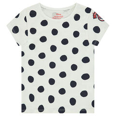 Κοντομάνικη πουά μπλούζα με κεντημένο μοτίβο