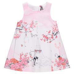 Αμάνικο φόρεμα με στάμπα σε όλη την επιφάνεια με τον Πύργο του Άιφελ και λουλούδια