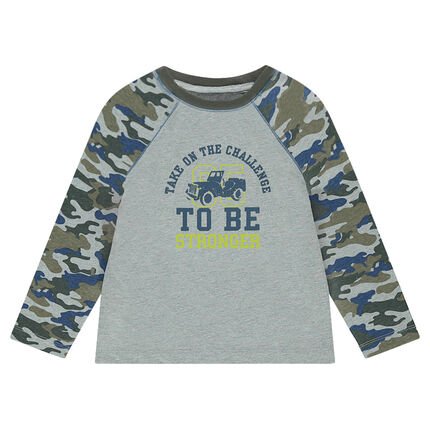 Μακρυμάνικη μπλούζα ρίγες με μιλιτέρ μοτίβο και στάμπα μπροστά