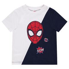 Δίχρωμη κοντομάνικη μπλούζα από ζέρσεϊ με κεντημένο κεφάλι του Spiderman της ©Marvel