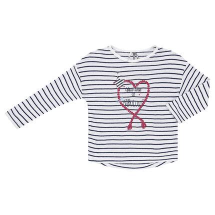 Παιδικά - Μακρυμάνικη μπλούζα σε στιλ μαρινιέρας με στάμπα