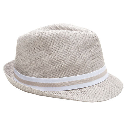 Παιδικά - Καπέλο τύπου μπορσαλίνο με όψη ψάθας και ριγέ κορδέλα