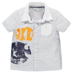 Chemise manches courtes rayée avec print et poche