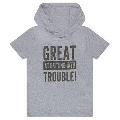 Παιδικά - Κοντομάνικη μπλούζα με κουκούλα και τυπωμένη φράση
