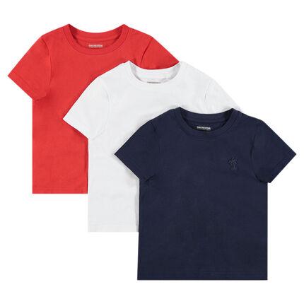 Σετ με 3 κοντομάνικες μπλούζες ζέρσεϊ με τυπωμένο λογότυπο