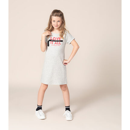 Παιδικά - Κοντομάνικο φόρεμα από φανέλα με τυπωμένο μήνυμα