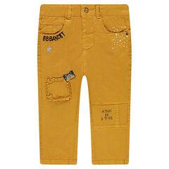 Παντελόνι με φαντεζί ύφανση, σήματα και κεντήματα