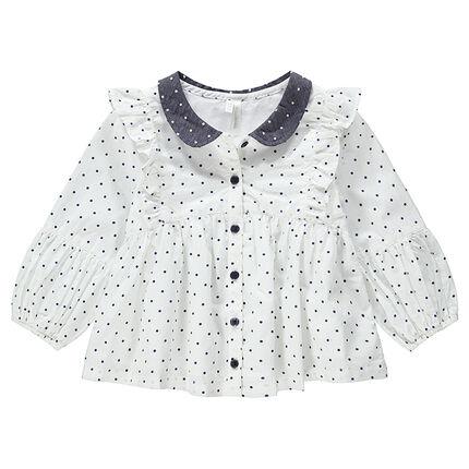 Μακρυμάνικο πουκάμισο με πουά σε όλη την επιφάνεια και λαιμό-γιακά