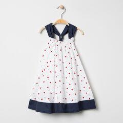 Φόρεμα με τιράντες με φραουλίτσες και πουά μοτίβο σε όλη την επιφάνεια