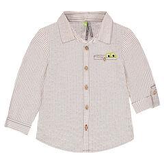 Μακρυμάνικο πουκάμισο με φαντεζί ρίγες και τσέπη με φάσα σε σχήμα κροκόδειλου
