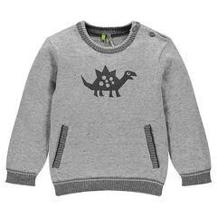 Pull en tricot print dinosaure