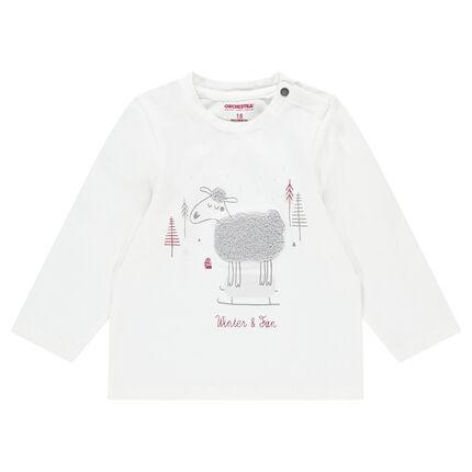 Μακρυμάνικη μπλούζα από ζέρσεϊμε μπουκλέ προβατάκι