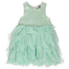 Αμάνικο φόρεμα με βολάν από τούλι
