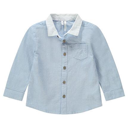 Μακρυμάνικο σιέλ πουκάμισο με κέντημα στην τσέπη