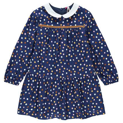 Μακρυμάνικο φόρεμα πουά με στρογγυλό γιακαδάκι