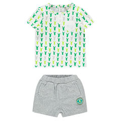 Σύνολο κοντομάνικη μπλούζα με εμπριμέ μοτίβο λαγουδάκια και σορτς