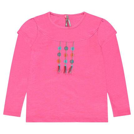 Μακρυμάνικη μπλούζα 2 σε 1 με κεντήματα και διακοσμητικά πον πον